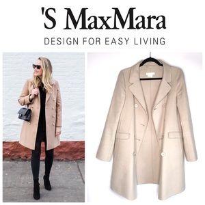 'S MaxMara Cream Double Breasted Wool Angora Coat